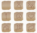 Vector beige square web buttons set1 Stock Photography