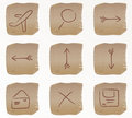 Vector beige square web buttons set2 Royalty Free Stock Photography