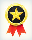 Vector best choice golden star label with ribbons Royalty Free Stock Photo