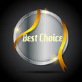 Vector best choice label with red ribbon. Royalty Free Stock Photography