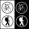 Vector bicycle and traveller icons Royalty Free Stock Photo