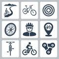 Vector bicycling, cycling icons set Royalty Free Stock Photo