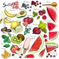 Vector big set of fruits and vegetables for detox smoothie. Hand drawn engraved colored elements.