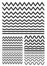 Vector big set of seamless wavy - curvy and zigzag - criss cross