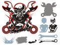 Vector bikers simbols set Royalty Free Stock Photos