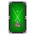 Vector billiards balls, triangle and two cues on a pool table Royalty Free Stock Photo
