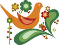 Vector bird and flowers for greeting card Royalty Free Stock Images