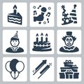 Vector birhday and party icons set Royalty Free Stock Photos