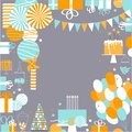 Vector birthday background. Garlands,paper Pom Poms, confetti, g