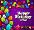 Vector birthday banner with confetti and multicolored balloons. Celebration background with Happy Birthday title. Greeting card