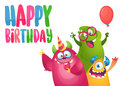 Vector birthday card with cute funny monsters in cartoon style.