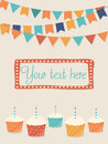 Vector birthday card with party flags and cupcakes space for your text available Royalty Free Stock Photos