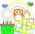 Vector birthday party card with cute owl Royalty Free Stock Photo