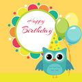 Vector birthday party card with owl illustration Royalty Free Stock Photography