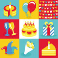 Vector birthday and party icons and signs collection in retro flat style Stock Image