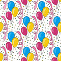 Vector birthday pattern with colorful balloons. Seamless background for holiday cards and party decoration Royalty Free Stock Photo