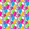 Vector birthday seamless pattern with colorful balloons. Background for holiday cards and festival decoration Royalty Free Stock Photo