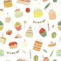 Vector birthday seamless pattern