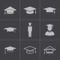 Vector black academic cap icons set this is file of eps format Stock Photo