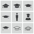 Vector black academic cap icons set on white background Royalty Free Stock Photography