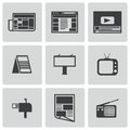 Vector black advertisement icons set on white background Stock Image
