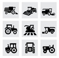 Vector black agricultural transport icons set this is file of eps format Royalty Free Stock Images