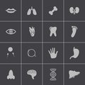 Vector black anatomy icons set this is file of eps format Stock Photo