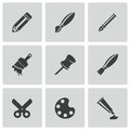 Vector black art tool icons set on white background Stock Image