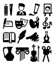 Vector black arts icon set on gray Royalty Free Stock Image