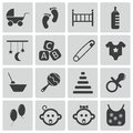 Vector black baby icons set Stock Image