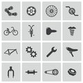 Vector black bicycle part icons set Royalty Free Stock Photography