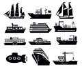 Vector black boat ship icons set Stock Images