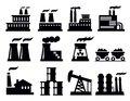 Vector black building factory icon set white Royalty Free Stock Photos