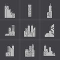 Vector black building icons set