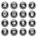Vector black buttons with symbols. Royalty Free Stock Image