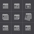 Vector black calendar icons set this is file of eps format Stock Image