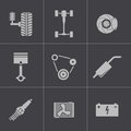 Vector black car parts icons set this is file of eps format Stock Images