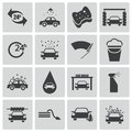 Vector black car wash icons set Stock Photos