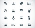 Vector black car wash icons set Stock Image