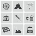 Vector black carnival icons set on white background Stock Photo