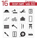 Vector black carpentry icons set Stock Image