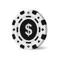 Vector black casino chip with dollar sign isolated on white background.