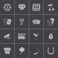 Vector black casino icons set this is file of eps format Royalty Free Stock Image