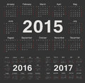 Vector black circle calendars 2015, 2016, 2017 Royalty Free Stock Photo