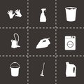 Vector black cleaning icons set Royalty Free Stock Photo
