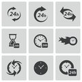 Vector black clock icons set on white background Stock Photo
