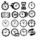Vector black clocks icon set on white Stock Photos