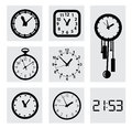 Vector black clocks icons this is file of eps format Royalty Free Stock Photo
