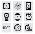 Vector black clocks icons this is file of eps format Stock Images