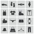 Vector black clothes icons set Royalty Free Stock Images